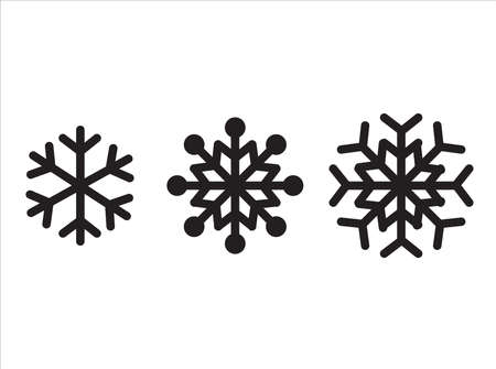 Snowflake icon. The winter set. Black isolated silhouette. Christmas and Winter theme. Vector illustration.