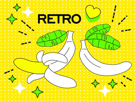 Retro Pop Art of yellow bananas on an yellow background. Cartoon retro banner for web banners, websites,   magazine covers. Vector illustration.