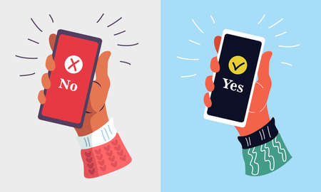 Hand holding a smartphone on isolated background. Notification of acceptance message on mobile phone.  Vector illustration. Flat cartoon design for web banners, websites, and infographics.