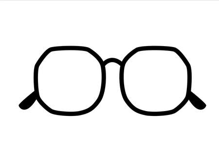 Retro icon glasses isolated on background, retro black-rimmed glasses, women's and men's accessory. Optics, lens, vintage, trend. Vector illustration.