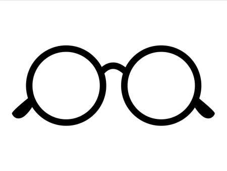 Retro icon round glasses isolated on background, retro black-rimmed glasses, women's and men's accessory. Optics, lens, vintage,  trend. Vector illustration.