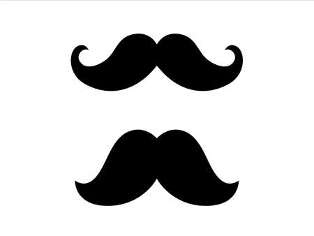Hipster Mustache icon. Barber symbol silhouette isolated on white background.  Vector illustration for Website page and mobile app design.