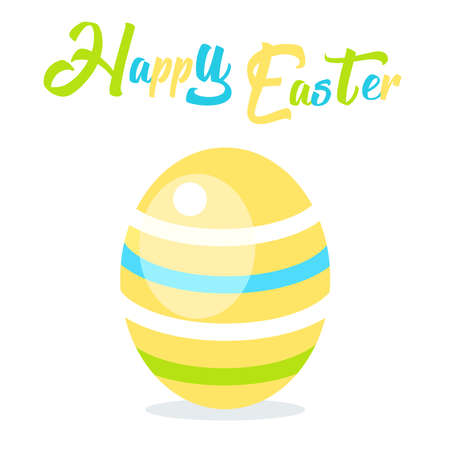 Happy Easter. Cute Decorative Easter banner with Easter egg. Vector Greetings for Easter in flat style. Vector illustration. For greeting card, Print t shirt