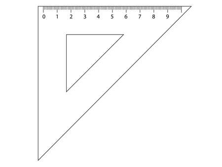Measuring tool. Ruler, Triangle Ruler for school and business. Vector illustration.
