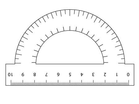 Measuring tool. Ruler, Protractor for school and business. Vector illustration.