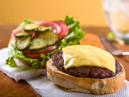 Cheeseburger open face Stock Photo