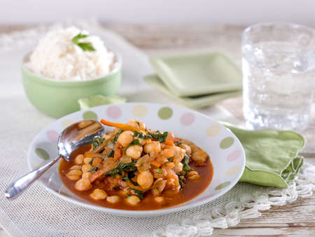 Garbanzo bean chickpea soup, a typical Peruvian dish Stock Photo - 54006758