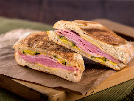 Ham and cheese toasted panini sandwich Stock Photo - 54006761