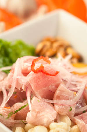 Fish ceviche, a traditional Peruvian raw fish dish served on white plate