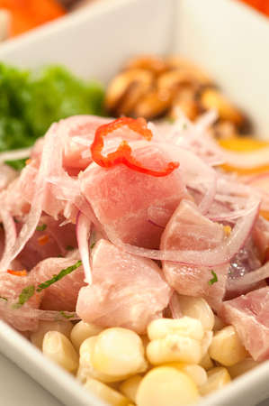 Fish ceviche, a traditional Peruvian raw fish dish served on white plate Stock Photo - 56402514