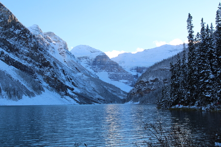 Lake and ice mountain with blue sky.