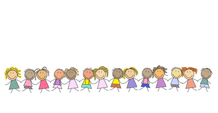 Kids in a row holding hands - Group of children - illustration Foto de archivo