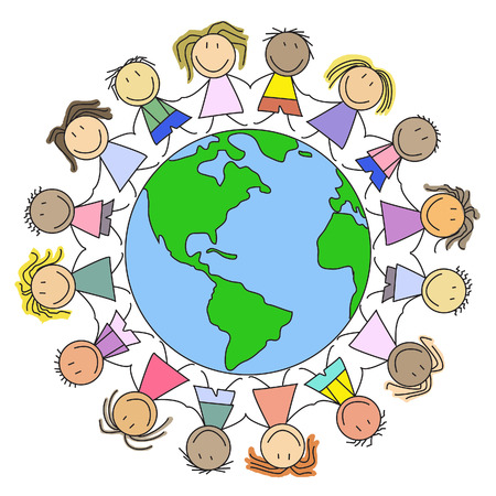 world group: Kids on the World - Group of children on globe - illustration