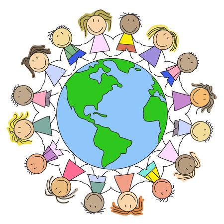 paz mundial: Ni�os en el Mundo - Grupo de ni�os en el globo - ilustraci�n Foto de archivo