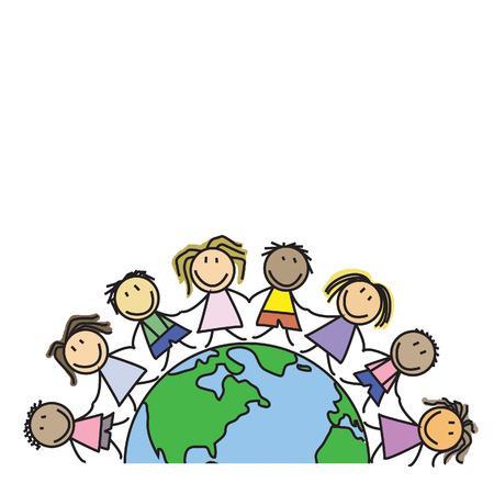世界 - 地球上の子供のグループ - イラストの子供たち