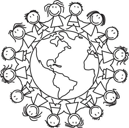 グローブのイラスト上の子供の世界のグループの子供たち