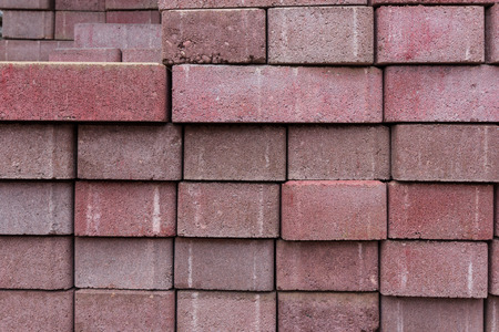 road surface: Stacked red bricks stones