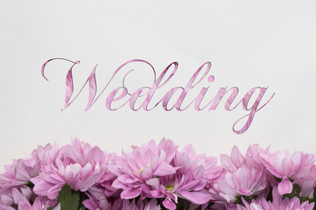 mariage: Wedding card flowers frame on white background