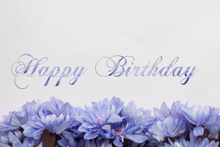 happy birthday flowers on white background