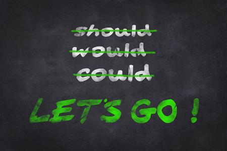 Motivation text on chalkboard photo