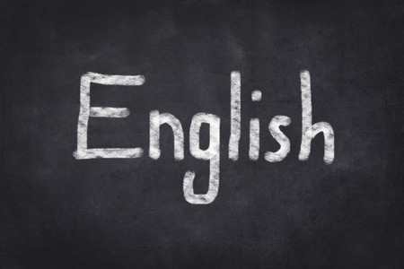 english text: english text on chalkboard