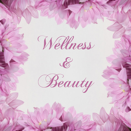 Wellness and Beauty Theme pink flower frame