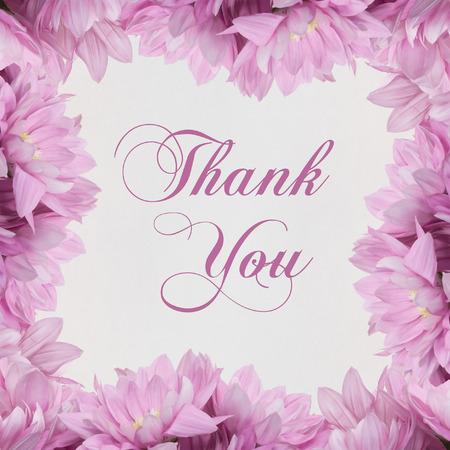 buzzer: thank you flower frame on white background Stock Photo
