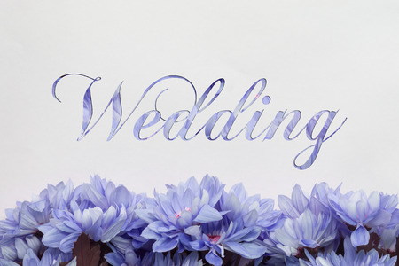 mariage: Wedding card flowers and beautiful handwriting
