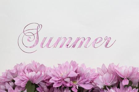 Summer flowers on white handwritten card