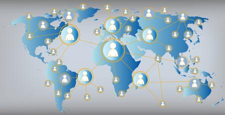 redes de mercadeo: Social Media ilustración mapa del mundo Vectores