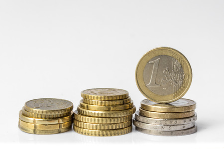 Stack of Euro coins isolated on white background-euro money