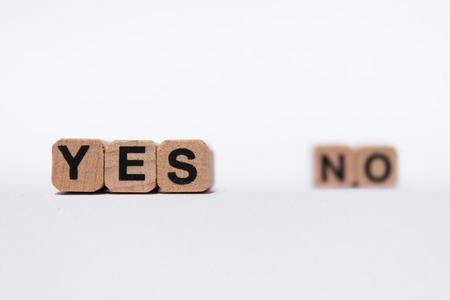 yes or no: yes, no text on white background Stock Photo