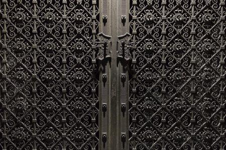 metal door: beautiful decorated old metal door