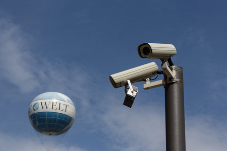 big brother spy: total surveillance, security cameras pointing at world