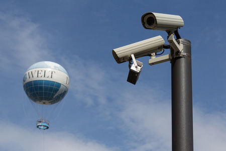 big brother spy: Big Brother is watching you - surveillance cameras, World Balloon Editorial