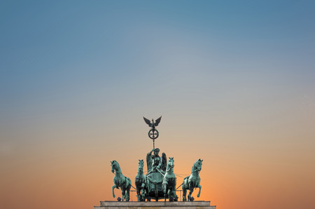 brandenburg gate: berlin symbol - Quadriga Top of The Brandenburg Gate Brandenburg Gate