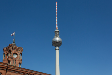 tv tower: TV Tower and Red Town Hall, Berlin Germany