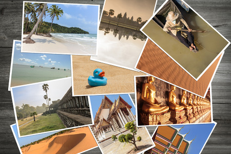 destinations:   pictures of asian travel destinations on wooden background