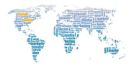 tagcloud: Social Media tagcloud world map illustration
