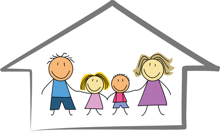 happy family at home: happy family home house - Kids drawing illustration Illustration