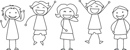 Group of children cheering and smiling - illustration Stok Fotoğraf - 46196560