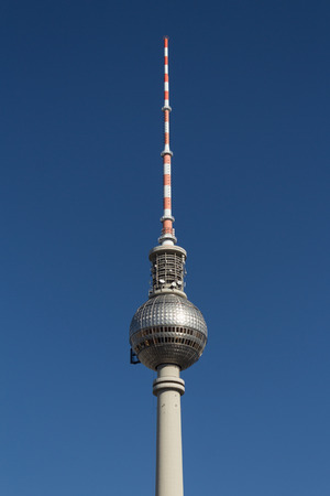 tv tower: tv tower berlin, germany isolated on blue sky