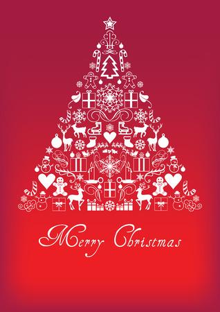 Albero di Natale - Biglietto di auguri di Buon Natale Archivio Fotografico - 46501986