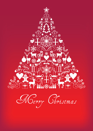 Christmas tree - Merry Chrismas greeting card Illustration