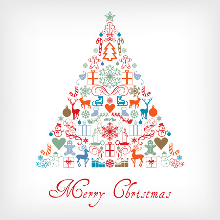 christmas greeting: Christmas tree - Merry Chrismas greeting card Illustration