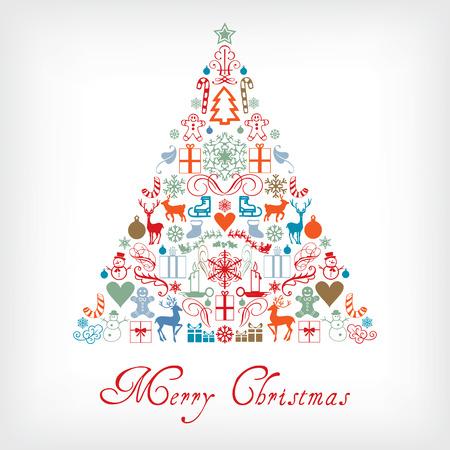 Kerstboom - Merry Chrismas wenskaart Stock Illustratie