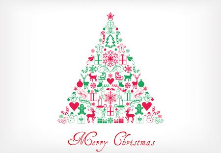merry chrismas: Christmas tree - Merry Chrismas greeting card Illustration