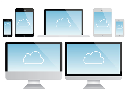 notebook computer: computer, notebook, smartphone, tablet Illustration - cloud computing