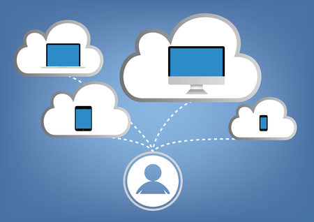 storage device: Cloud computing concept - laptop, tablet and smartphone