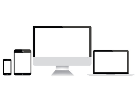 Computer screen, laptop, tablet and smartphone